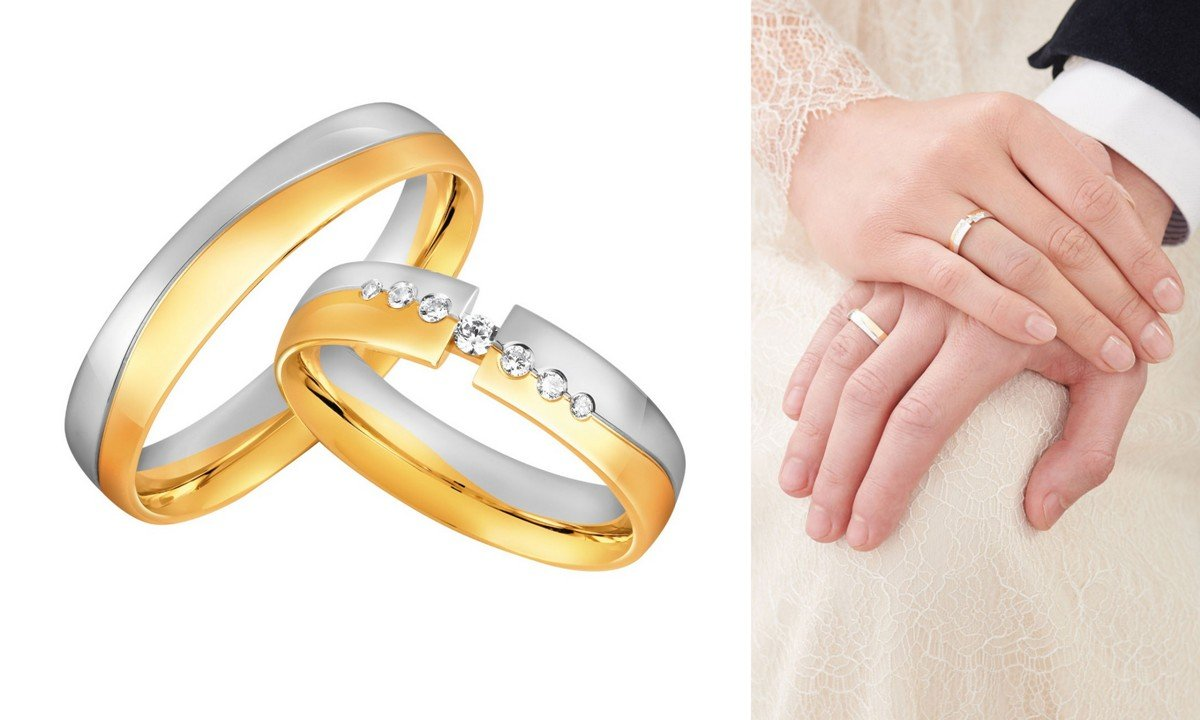 obrączki ślubne 2020 białe i żółte złoto
