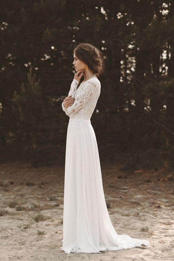 naturalna suknia ślubna