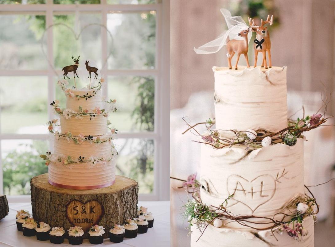 tort weselny topper motyw leśny rustykalny