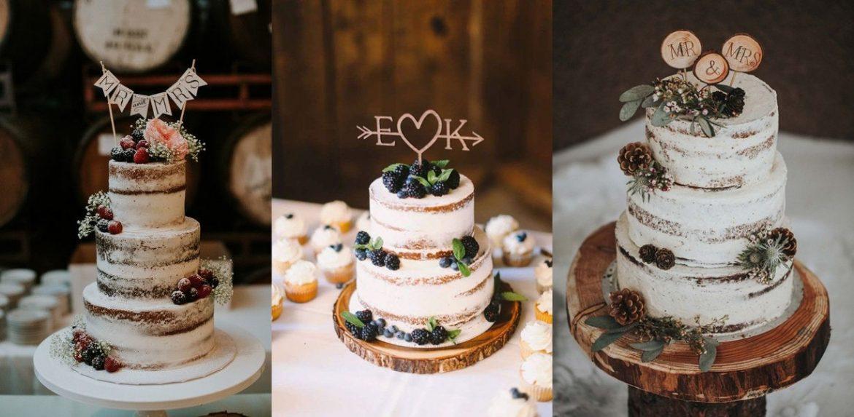 tort na ślub semi naked cake rustykalny