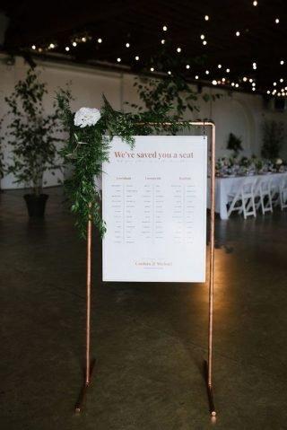 wesele w stylu industrialnym - tablica gości
