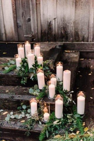 Świece na weselu w stylu rustykalnym