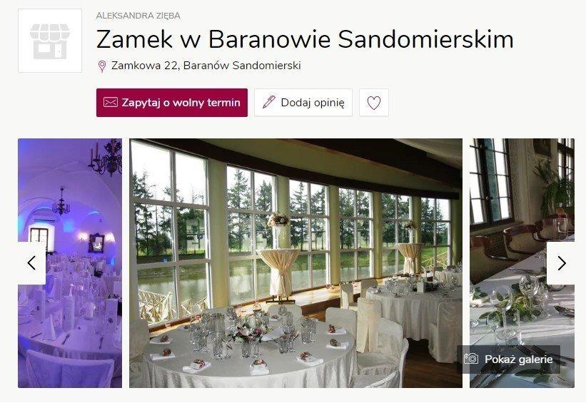 Wesele w zamku - Zamek w Baranowie Sandomierskim