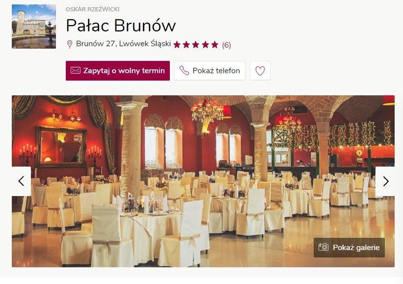 Wesele w zamku - Pałac Brunów