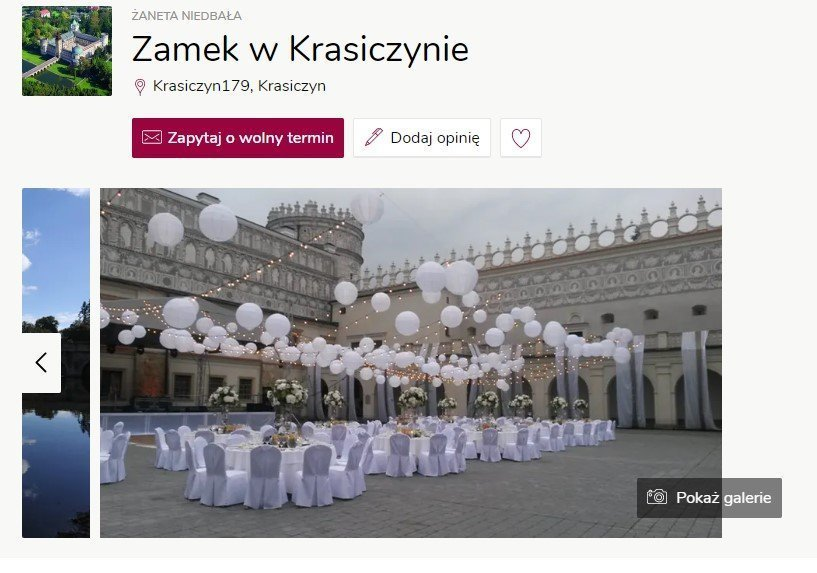 Wesele w zamku - Zamek w Krasiczynie