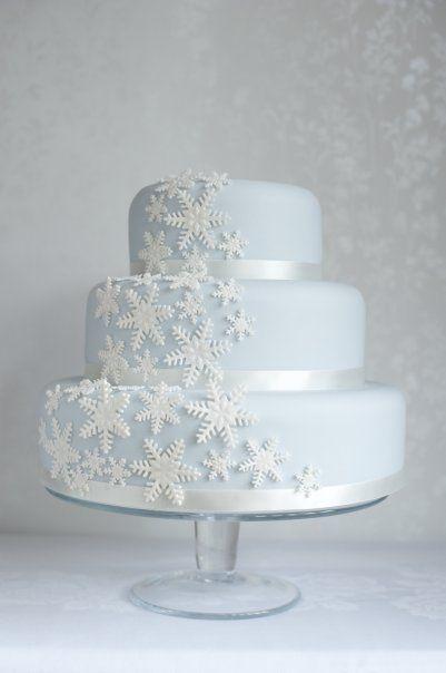 Zimowe dekoracje weselne - tort weselny - zdjęcie 5