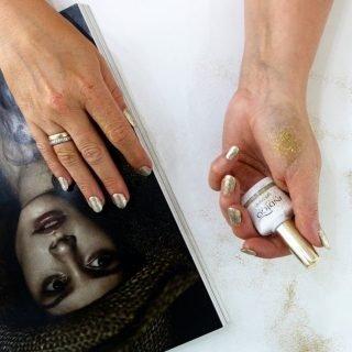 zimowy manicure ślubny ze złotem