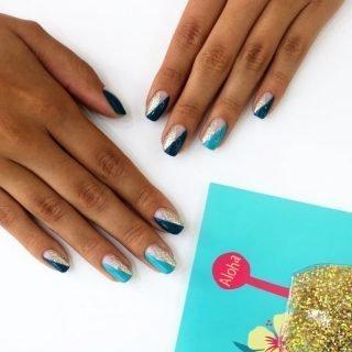 kolorowy zimowy manicure ślubny